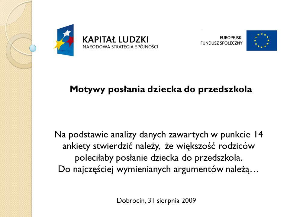 Dobrocin, 31 sierpnia 2009 Motywy posłania dziecka do przedszkola Na podstawie analizy danych zawartych w punkcie 14 ankiety stwierdzić należy, że większość rodziców poleciłaby posłanie dziecka do przedszkola.