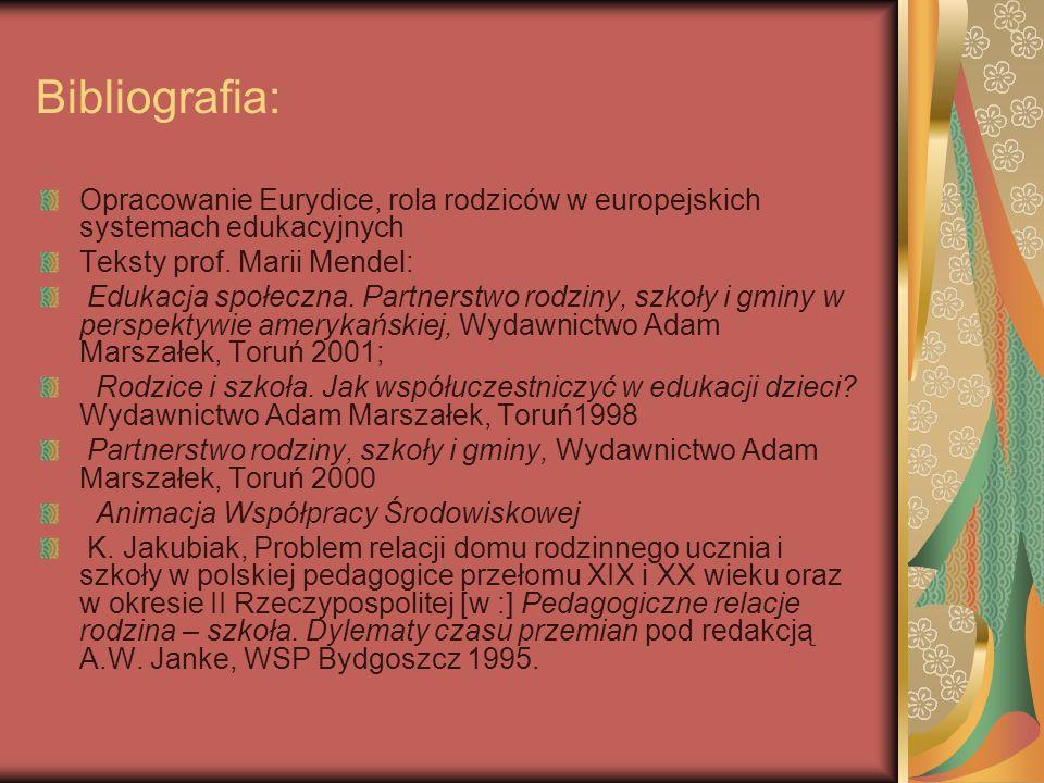 Bibliografia: Opracowanie Eurydice, rola rodziców w europejskich systemach edukacyjnych Teksty prof. Marii Mendel: Edukacja społeczna. Partnerstwo rod