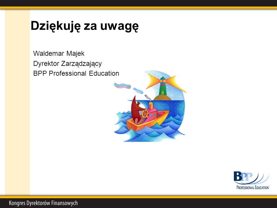 Dziękuję za uwagę Waldemar Majek Dyrektor Zarządzający BPP Professional Education
