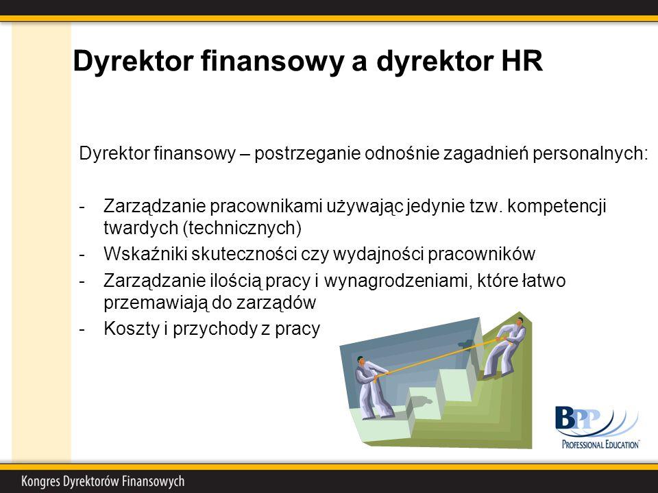 Dyrektor finansowy a dyrektor HR Dyrektor finansowy – postrzeganie odnośnie zagadnień personalnych: -Zarządzanie pracownikami używając jedynie tzw.