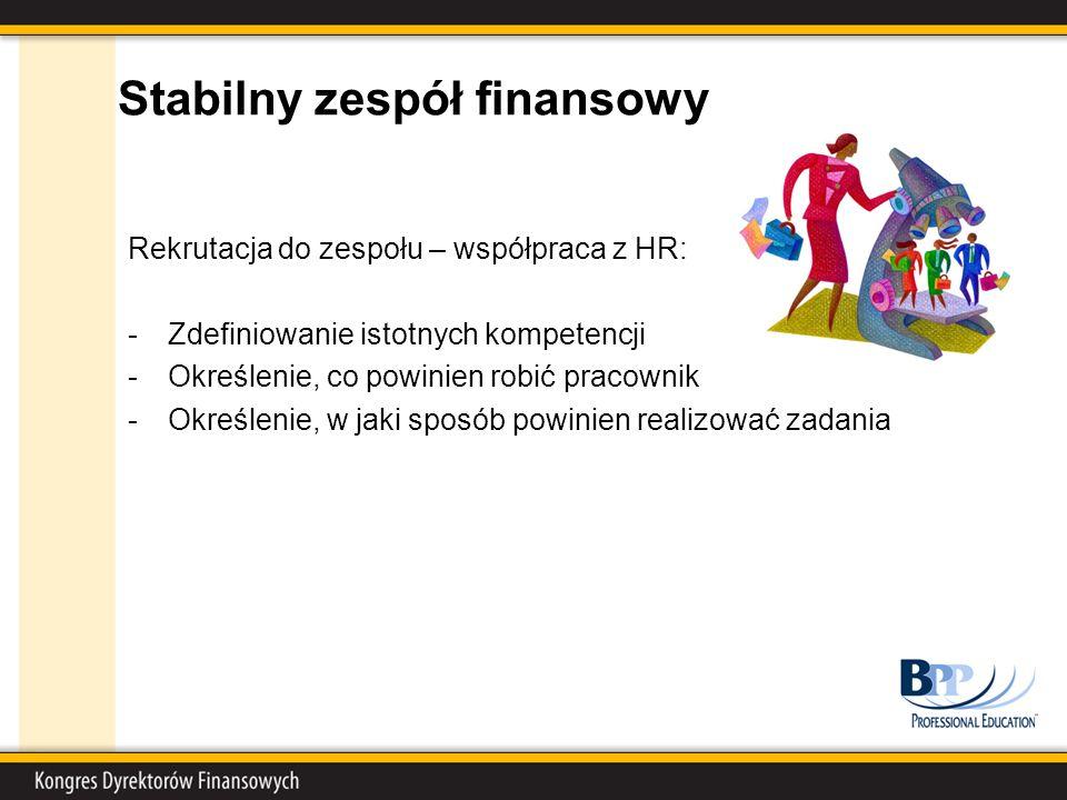 Stabilny zespół finansowy Rekrutacja do zespołu – współpraca z HR: -Zdefiniowanie istotnych kompetencji -Określenie, co powinien robić pracownik -Określenie, w jaki sposób powinien realizować zadania