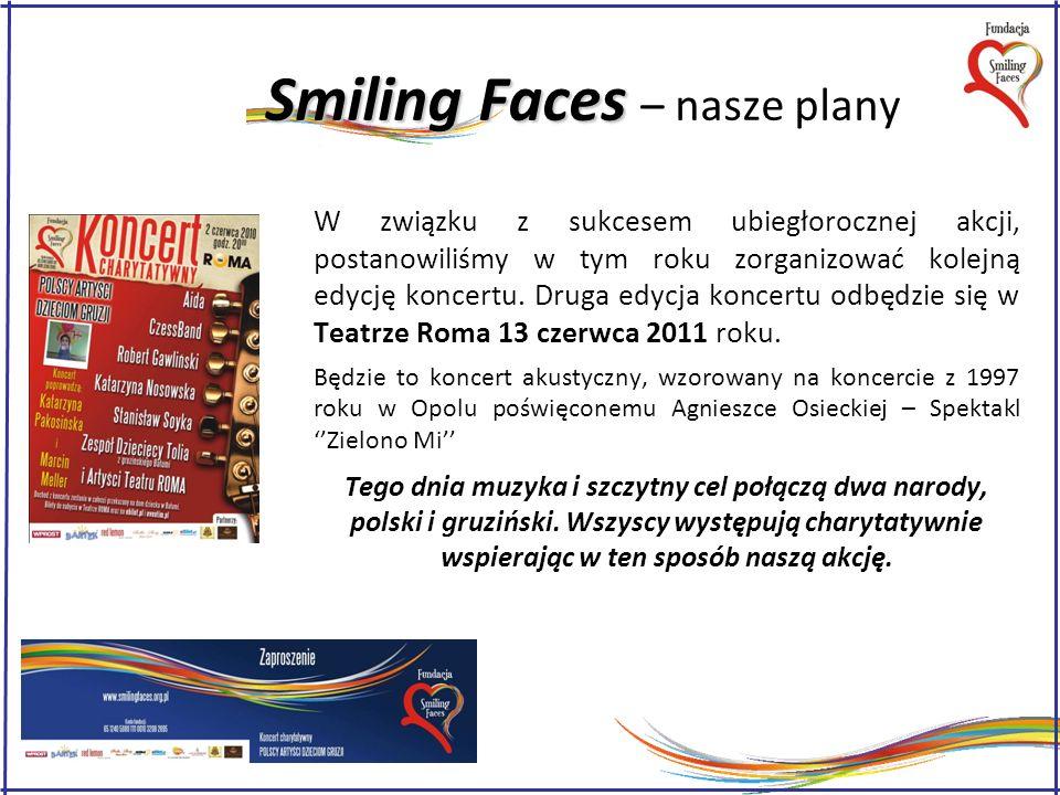Smiling Faces Smiling Faces – nasze plany W związku z sukcesem ubiegłorocznej akcji, postanowiliśmy w tym roku zorganizować kolejną edycję koncertu.