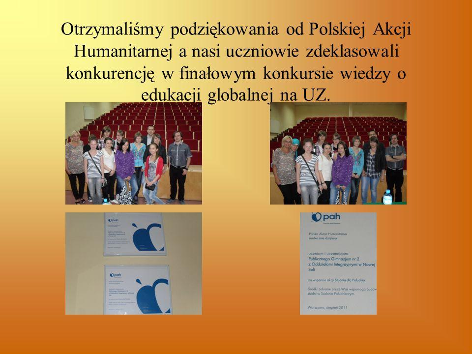 Otrzymaliśmy podziękowania od Polskiej Akcji Humanitarnej a nasi uczniowie zdeklasowali konkurencję w finałowym konkursie wiedzy o edukacji globalnej