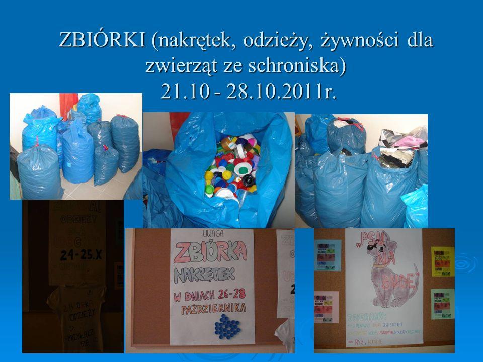 ZBIÓRKI (nakrętek, odzieży, żywności dla zwierząt ze schroniska) 21.10 - 28.10.2011r.