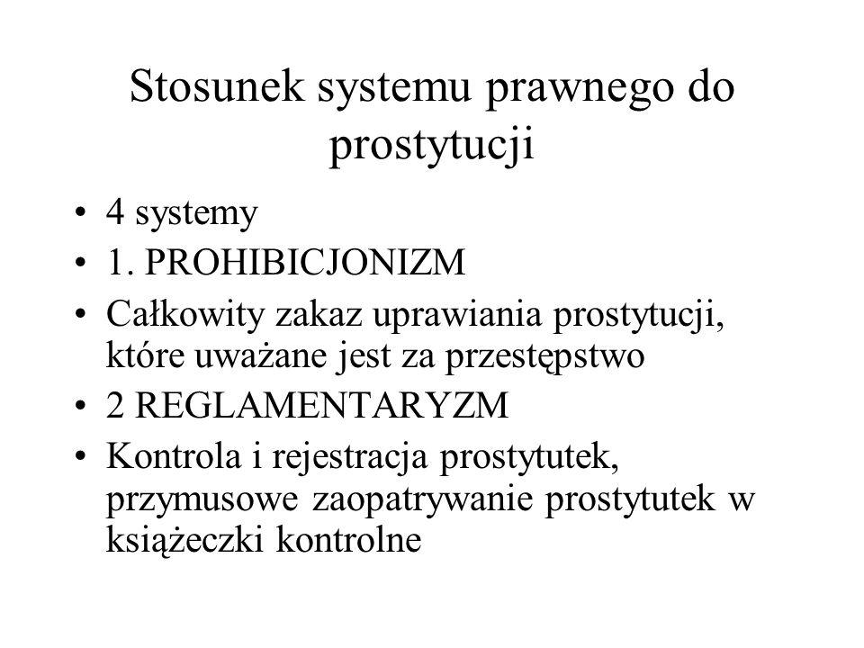 Stosunek systemu prawnego do prostytucji 4 systemy 1.