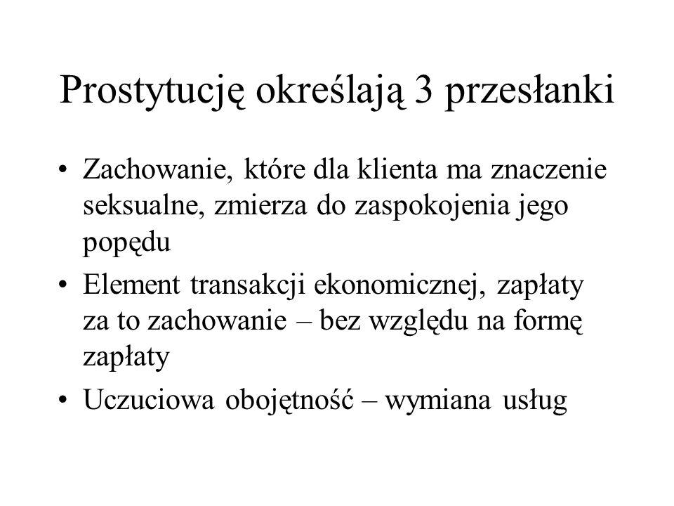 Cechy prostytucji wg Imielinskiego Oddawanie do dyspozycji własnego ciała w celu zaspokojenia seksualnego klienta lub grupy klientów Pobieranie opłaty za czynności seksualne Motywem działania klienta jest rozładowanie napięcia seksualnego natomiast prostytutki chęć zysku