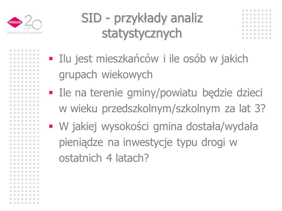 SID - przykłady analiz statystycznych Ilu jest mieszkańców i ile osób w jakich grupach wiekowych Ile na terenie gminy/powiatu będzie dzieci w wieku przedszkolnym/szkolnym za lat 3.