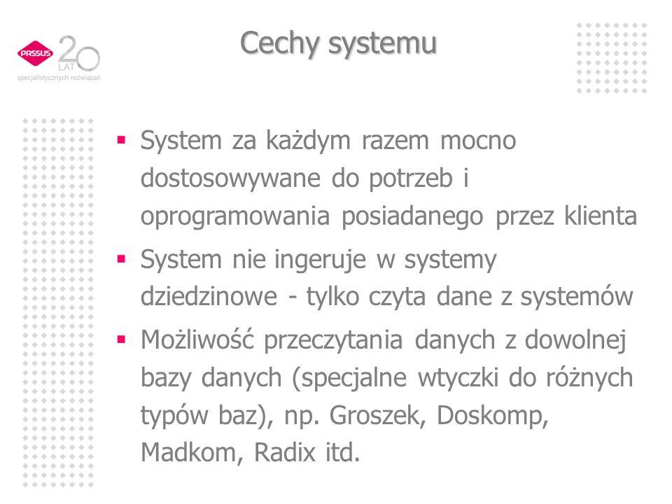Cechy systemu System za każdym razem mocno dostosowywane do potrzeb i oprogramowania posiadanego przez klienta System nie ingeruje w systemy dziedzinowe - tylko czyta dane z systemów Możliwość przeczytania danych z dowolnej bazy danych (specjalne wtyczki do różnych typów baz), np.
