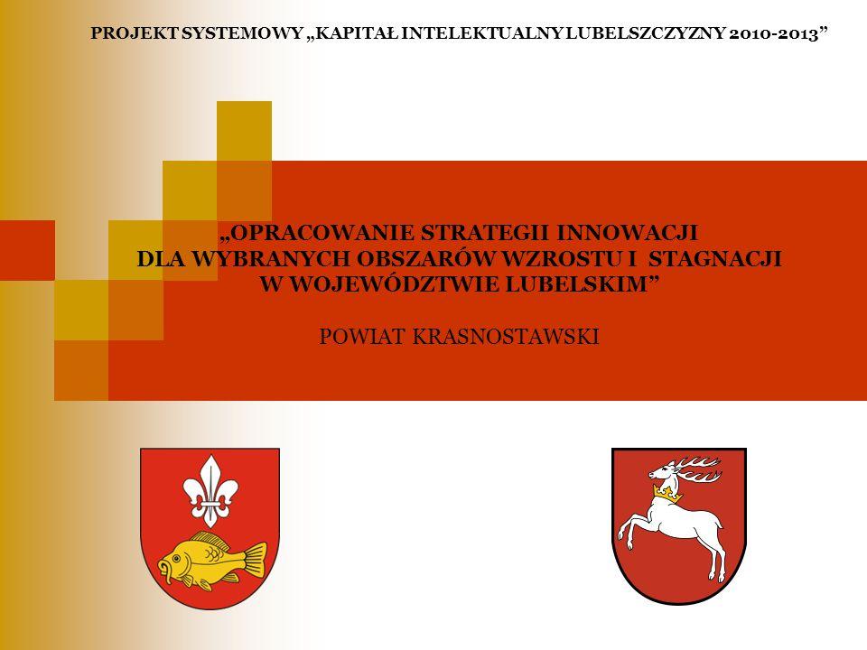 CELE BADAWCZE STRATEGII INNOWACJI Wskazanie lokalnych obszarów innowacyjności na wybranych obszarach wzrostu i stagnacji.
