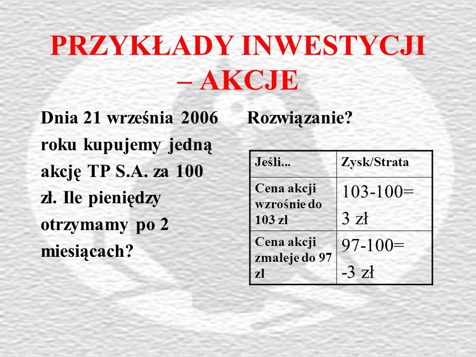 PRZYKŁADY INWESTYCJI – AKCJE Dnia 21 września 2006 roku kupujemy jedną akcję TP S.A.