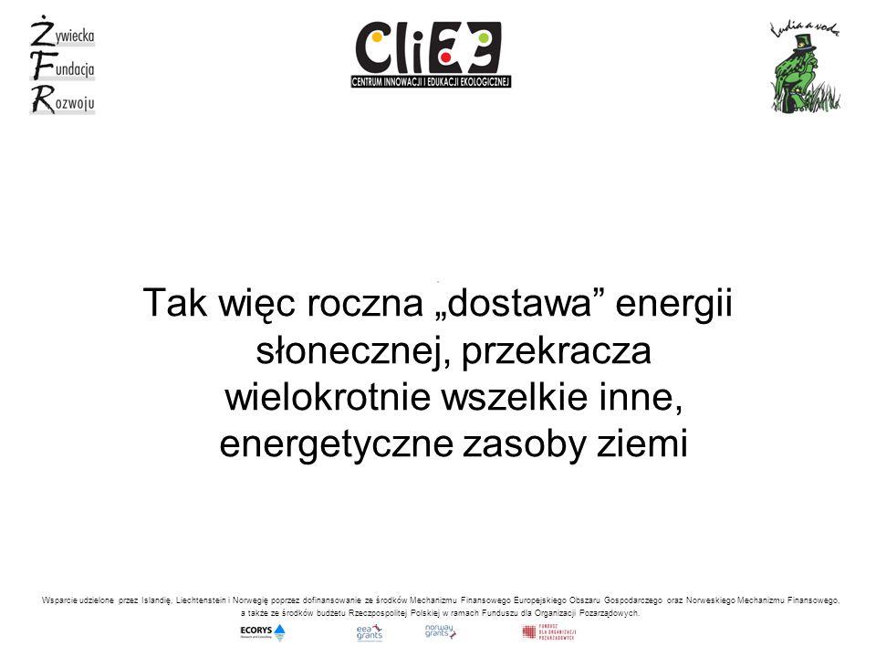 , Tak więc roczna dostawa energii słonecznej, przekracza wielokrotnie wszelkie inne, energetyczne zasoby ziemi Wsparcie udzielone przez Islandię, Liechtenstein i Norwegię poprzez dofinansowanie ze środków Mechanizmu Finansowego Europejskiego Obszaru Gospodarczego oraz Norweskiego Mechanizmu Finansowego, a także ze środków budżetu Rzeczpospolitej Polskiej w ramach Funduszu dla Organizacji Pozarządowych.