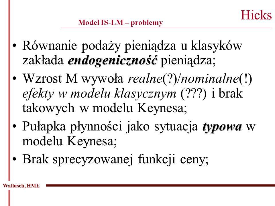 endogenicznośćRównanie podaży pieniądza u klasyków zakłada endogeniczność pieniądza; Wzrost M wywoła realne(?)/nominalne(!) efekty w modelu klasycznym