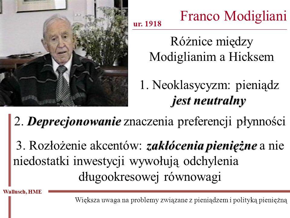 Franco Modigliani ________________________________________________________________ Wallusch, HME Większa uwaga na problemy związane z pieniądzem i pol