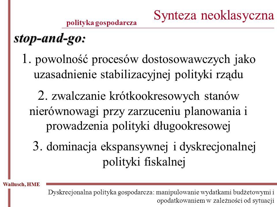 stop-and-go : 1. powolność procesów dostosowawczych jako uzasadnienie stabilizacyjnej polityki rządu 2. zwalczanie krótkookresowych stanów nierównowag