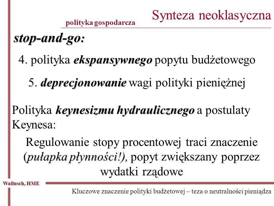 stop-and-go : ekspansywnego 4. polityka ekspansywnego popytu budżetowego Synteza neoklasyczna ________________________________________________________