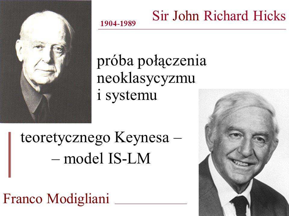 Sir John Richard Hicks ______________________________________________________________________________ próba połączenia neoklasycyzmu i systemu 1904-19