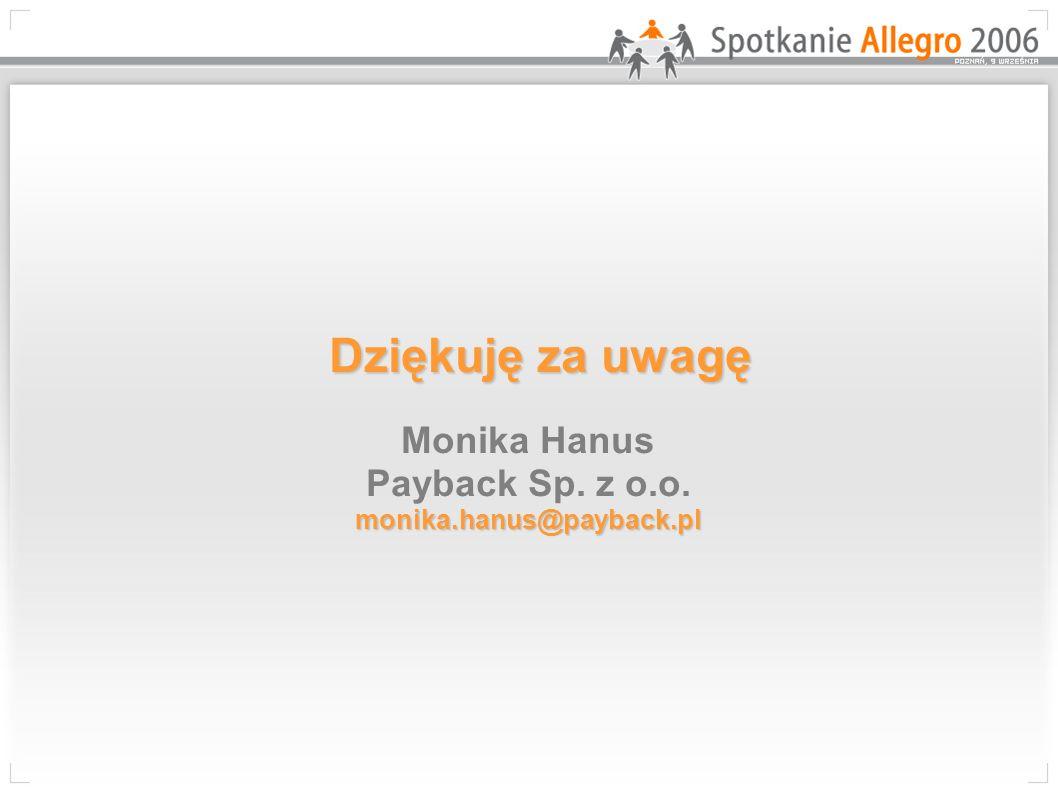 Dziękuję za uwagę monika.hanus@payback.pl Dziękuję za uwagę Monika Hanus Payback Sp.