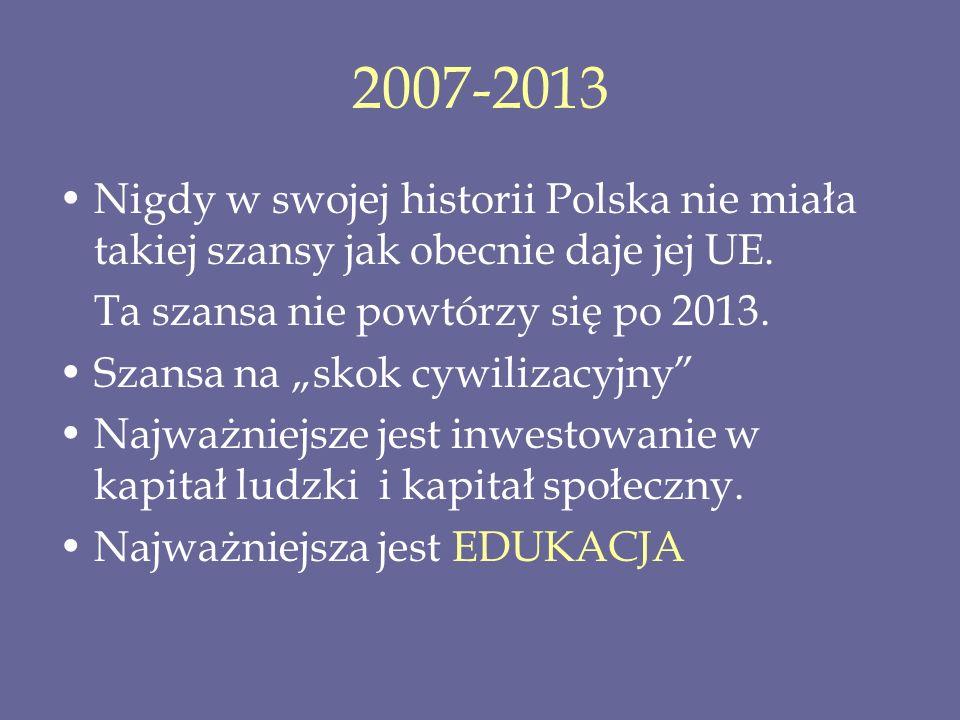 2007-2013 Nigdy w swojej historii Polska nie miała takiej szansy jak obecnie daje jej UE. Ta szansa nie powtórzy się po 2013. Szansa na skok cywilizac