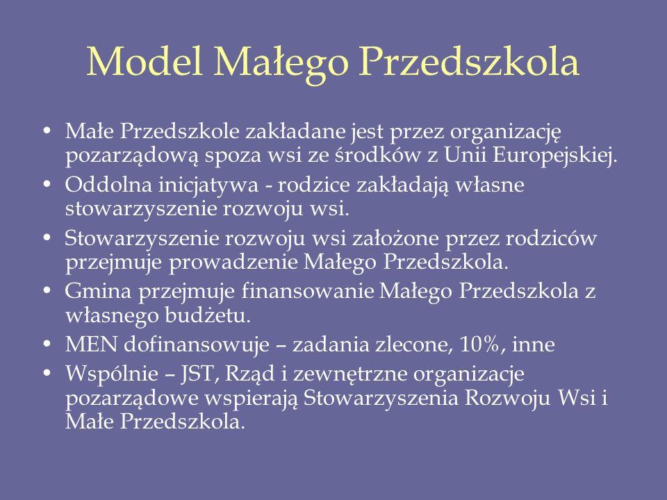 Model Małego Przedszkola Małe Przedszkole zakładane jest przez organizację pozarządową spoza wsi ze środków z Unii Europejskiej. Oddolna inicjatywa -