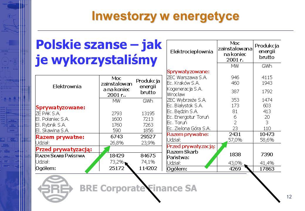 12 Inwestorzy w energetyce Polskie szanse – jak je wykorzystaliśmy
