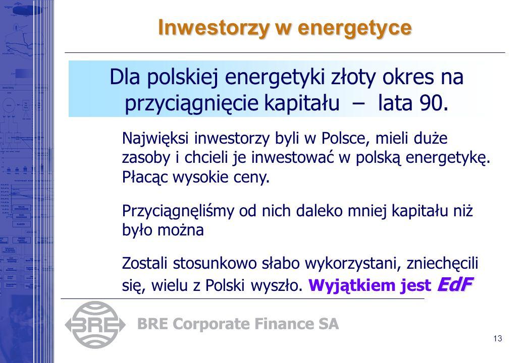 13 Inwestorzy w energetyce Dla polskiej energetyki złoty okres na przyciągnięcie kapitału – lata 90. Najwięksi inwestorzy byli w Polsce, mieli duże za