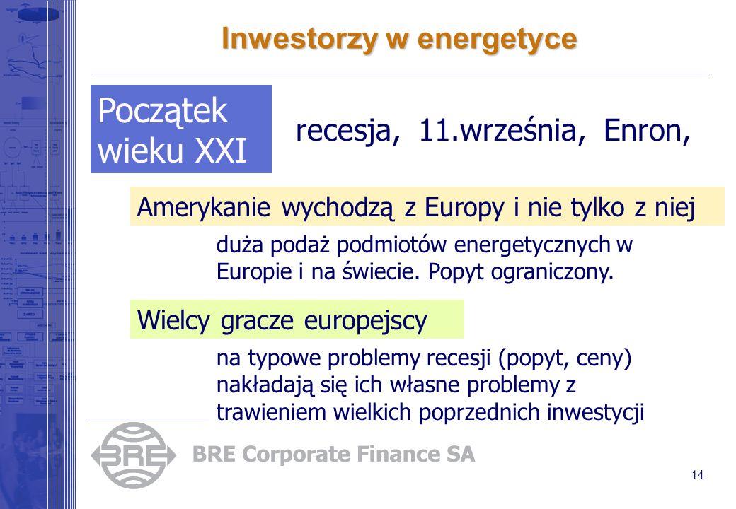 14 Inwestorzy w energetyce Początek wieku XXI Amerykanie wychodzą z Europy i nie tylko z niej duża podaż podmiotów energetycznych w Europie i na świec