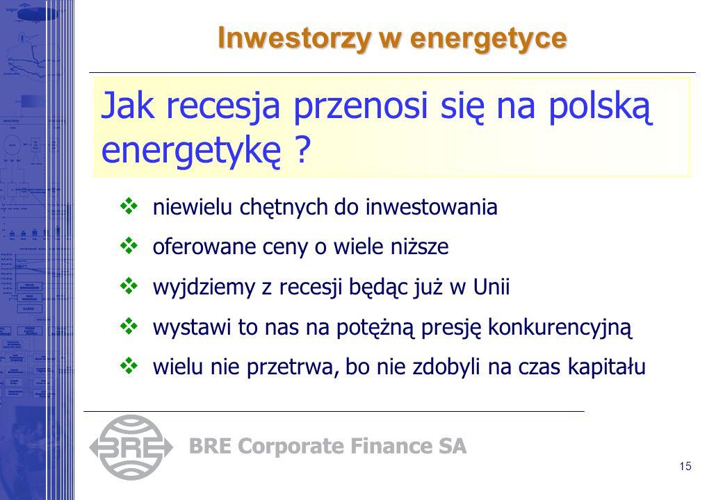 15 Inwestorzy w energetyce Jak recesja przenosi się na polską energetykę ? niewielu chętnych do inwestowania oferowane ceny o wiele niższe wyjdziemy z