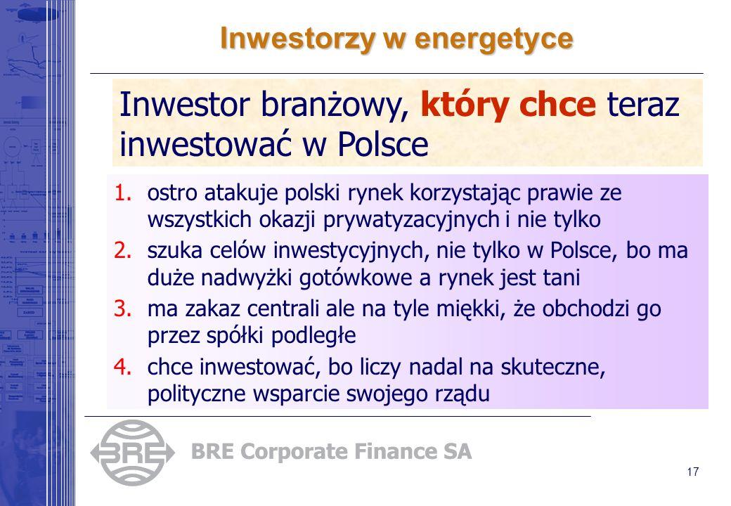 17 Inwestorzy w energetyce Inwestor branżowy, który chce teraz inwestować w Polsce 1.ostro atakuje polski rynek korzystając prawie ze wszystkich okazji prywatyzacyjnych i nie tylko 2.szuka celów inwestycyjnych, nie tylko w Polsce, bo ma duże nadwyżki gotówkowe a rynek jest tani 3.ma zakaz centrali ale na tyle miękki, że obchodzi go przez spółki podległe 4.chce inwestować, bo liczy nadal na skuteczne, polityczne wsparcie swojego rządu