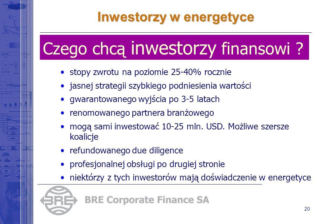 20 Inwestorzy w energetyce Czego chcą inwestorzy finansowi ? stopy zwrotu na poziomie 25-40% rocznie jasnej strategii szybkiego podniesienia wartości