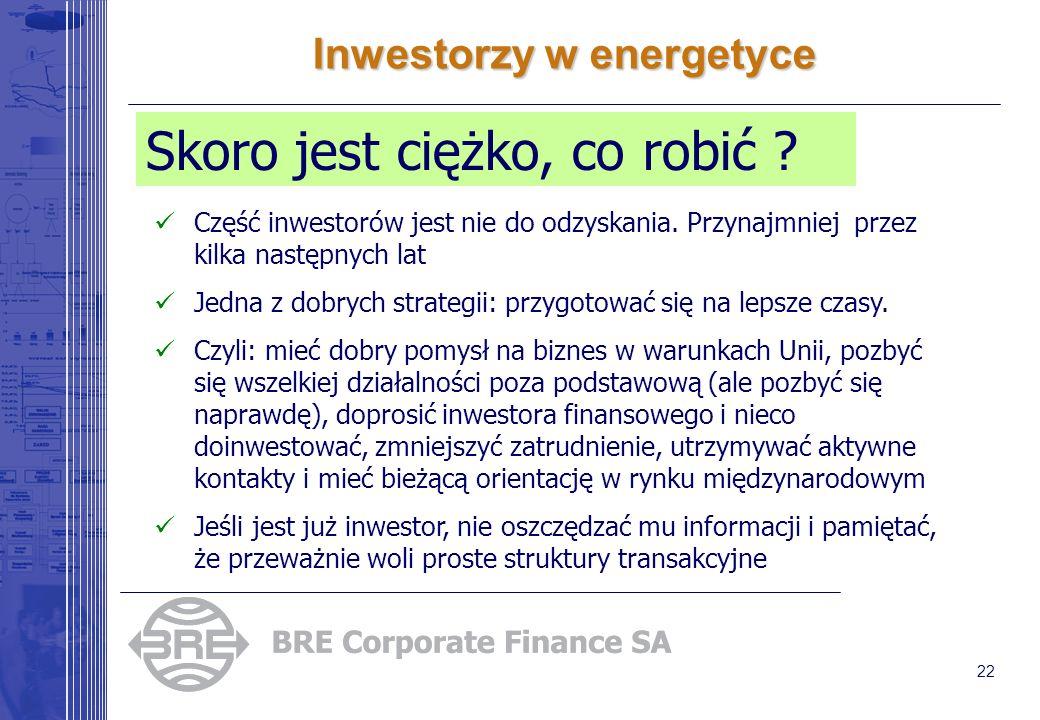 22 Inwestorzy w energetyce Skoro jest ciężko, co robić ? Część inwestorów jest nie do odzyskania. Przynajmniej przez kilka następnych lat Jedna z dobr