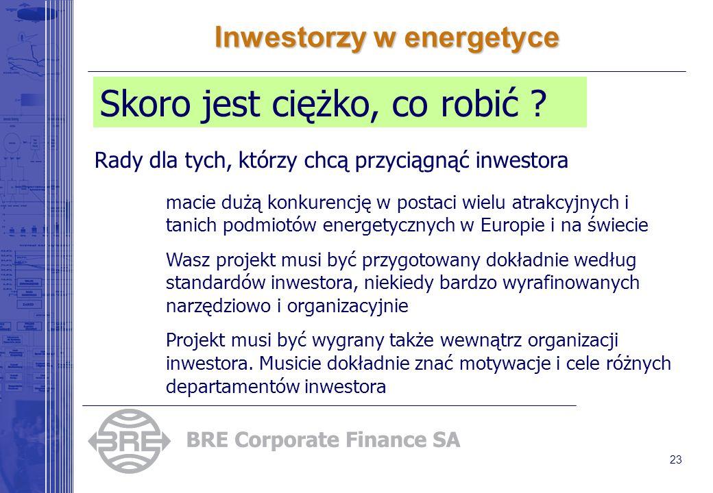 23 Inwestorzy w energetyce Skoro jest ciężko, co robić .