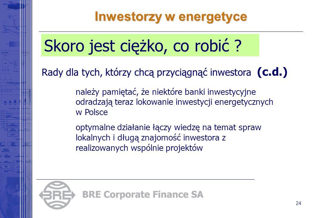 24 Inwestorzy w energetyce Skoro jest ciężko, co robić ? Rady dla tych, którzy chcą przyciągnąć inwestora (c.d.) należy pamiętać, że niektóre banki in