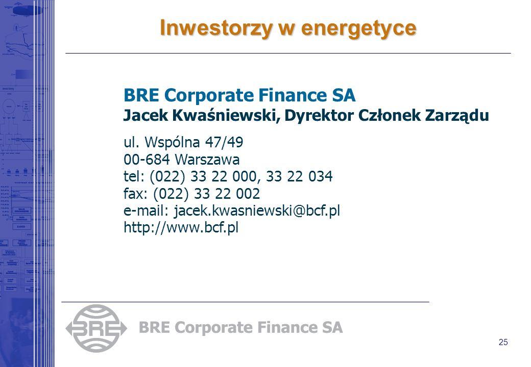 25 Inwestorzy w energetyce BRE Corporate Finance SA Jacek Kwaśniewski, Dyrektor Członek Zarządu ul. Wspólna 47/49 00-684 Warszawa tel: (022) 33 22 000