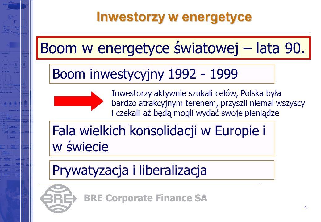 4 Inwestorzy w energetyce Boom inwestycyjny 1992 - 1999 Fala wielkich konsolidacji w Europie i w świecie Prywatyzacja i liberalizacja Boom w energetyc