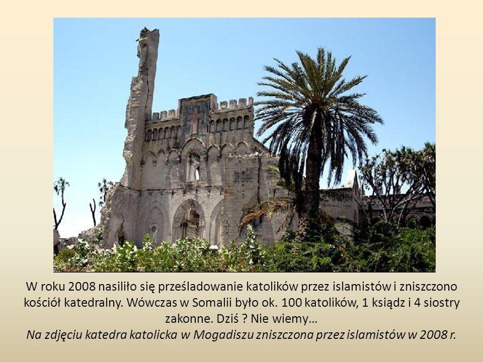 W roku 2008 nasiliło się prześladowanie katolików przez islamistów i zniszczono kościół katedralny. Wówczas w Somalii było ok. 100 katolików, 1 ksiądz