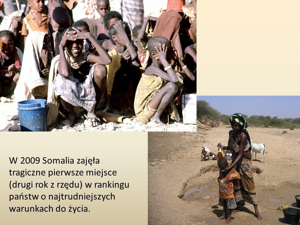 W 2009 Somalia zajęła tragiczne pierwsze miejsce (drugi rok z rzędu) w rankingu państw o najtrudniejszych warunkach do życia.