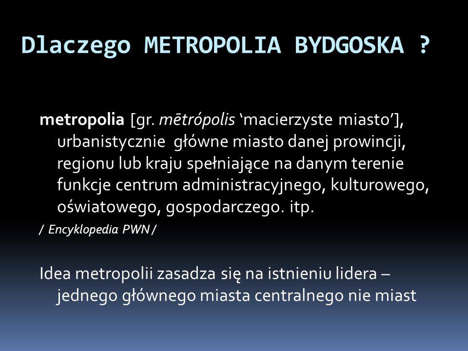 Metropolitalność Bydgoszczy Bydgoszcz, 8 miasto w Polsce, jest jedynym miastem w województwie kujawsko - pomorskim które: jest członkiem Unii Metropolii Polskich spełnia kryteria metropolitalności wg stowarzyszenia miast europejskich Eurocities (m.in.