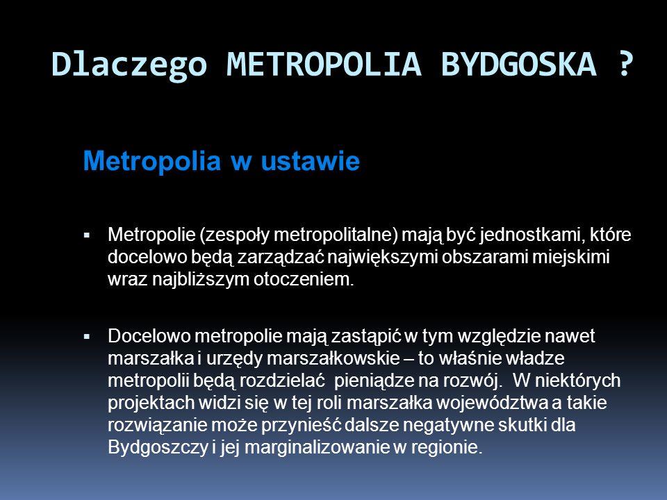 Metropolia w ustawie Metropolie (zespoły metropolitalne) mają być jednostkami, które docelowo będą zarządzać największymi obszarami miejskimi wraz naj