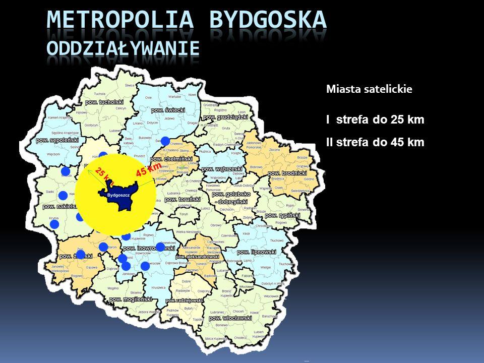 25 km 45 km I strefa do 25 km II strefa do 45 km Miasta satelickie