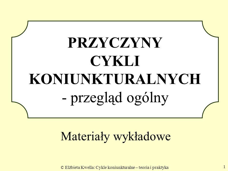 © Elżbieta Kwella: Cykle koniunkturalne – teoria i praktyka 1 PRZYCZYNY CYKLI KONIUNKTURALNYCH - przegląd ogólny Materiały wykładowe