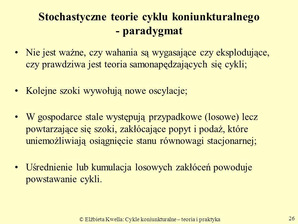© Elżbieta Kwella: Cykle koniunkturalne – teoria i praktyka Stochastyczne teorie cyklu koniunkturalnego - paradygmat Nie jest ważne, czy wahania są wy