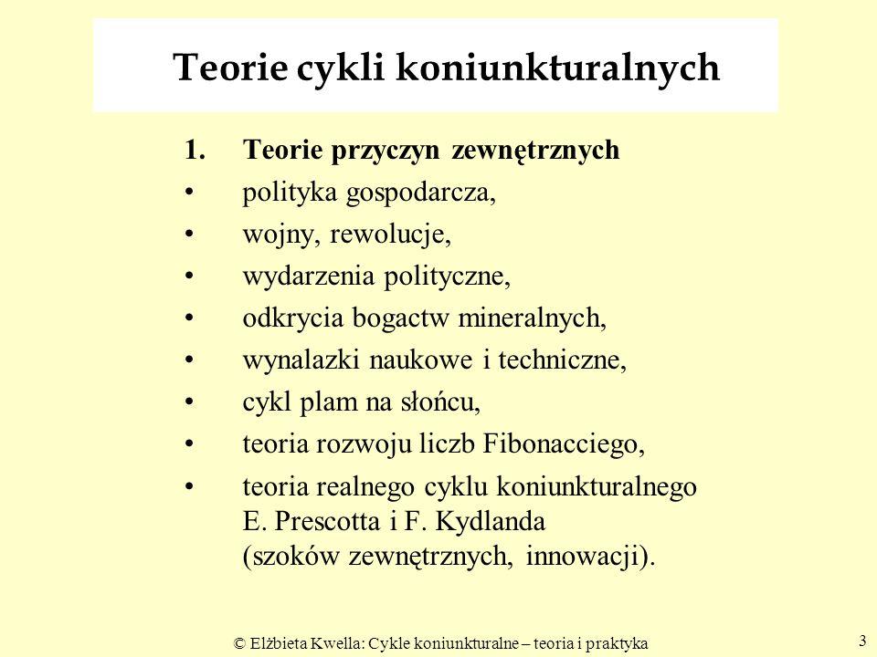 © Elżbieta Kwella: Cykle koniunkturalne – teoria i praktyka 14 Efekt mnożnikowy inwestycji Y = C + I = cY + I Y - cY = I; Y - cY = Y(1 – c) Y(1 – c) = I Y = 1/1-c I Y = 1/1-c I = m i I 1.I pl Y 1 = I (1 przyrost) 2.