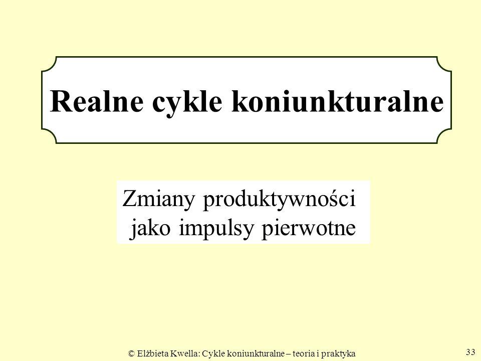 © Elżbieta Kwella: Cykle koniunkturalne – teoria i praktyka 33 Realne cykle koniunkturalne Zmiany produktywności jako impulsy pierwotne