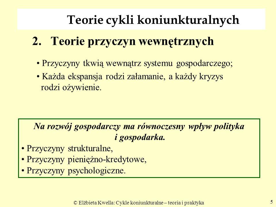 © Elżbieta Kwella: Cykle koniunkturalne – teoria i praktyka Stochastyczne teorie cyklu koniunkturalnego - paradygmat Nie jest ważne, czy wahania są wygasające czy eksplodujące, czy prawdziwa jest teoria samonapędzających się cykli; Kolejne szoki wywołują nowe oscylacje; W gospodarce stale występują przypadkowe (losowe) lecz powtarzające się szoki, zakłócające popyt i podaż, które uniemożliwiają osiągnięcie stanu równowagi stacjonarnej; Uśrednienie lub kumulacja losowych zakłóceń powoduje powstawanie cykli.