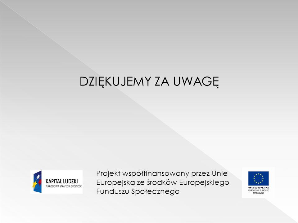 DZIĘKUJEMY ZA UWAGĘ Projekt współfinansowany przez Unię Europejską ze środków Europejskiego Funduszu Społecznego