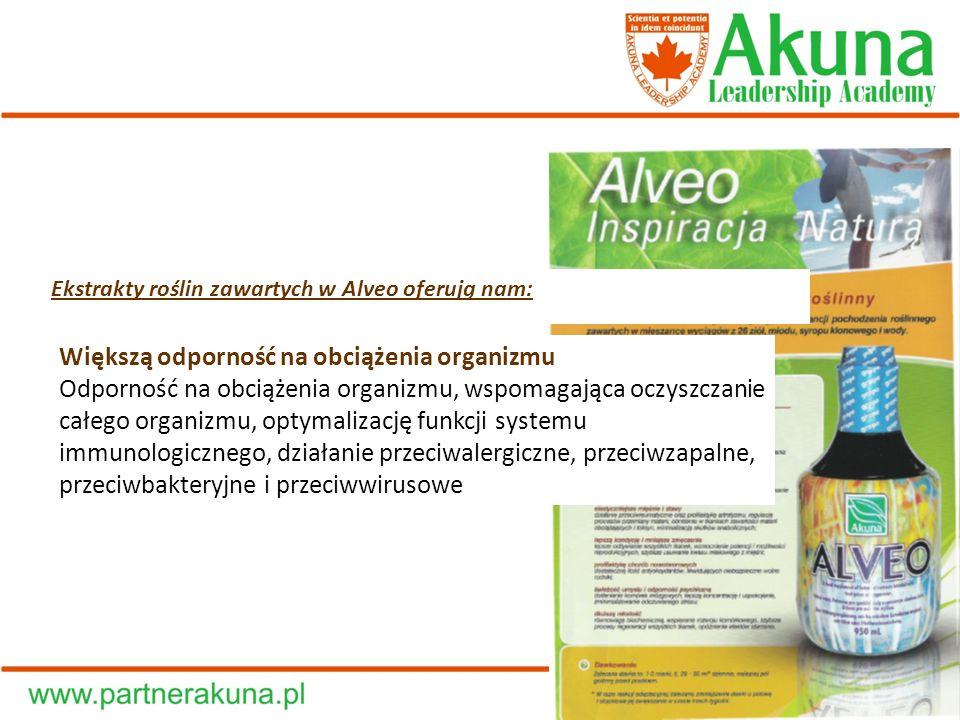 Ekstrakty roślin zawartych w Alveo oferują nam: Większą odporność na obciążenia organizmu Odporność na obciążenia organizmu, wspomagająca oczyszczanie