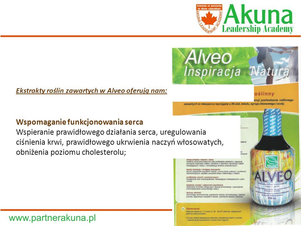 Ekstrakty roślin zawartych w Alveo oferują nam: Wspomaganie funkcjonowania serca Wspieranie prawidłowego działania serca, uregulowania ciśnienia krwi,
