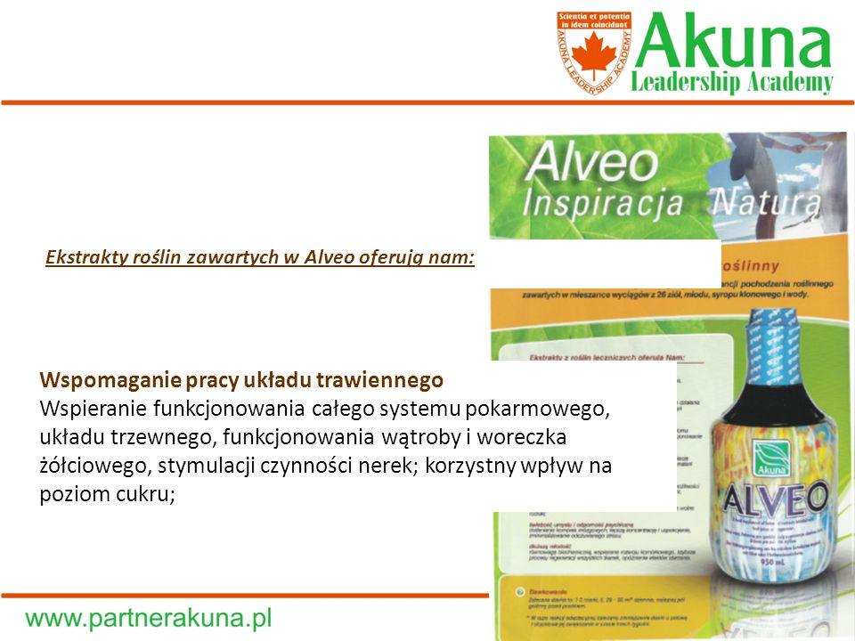 Ekstrakty roślin zawartych w Alveo oferują nam: Wspomaganie pracy układu trawiennego Wspieranie funkcjonowania całego systemu pokarmowego, układu trze