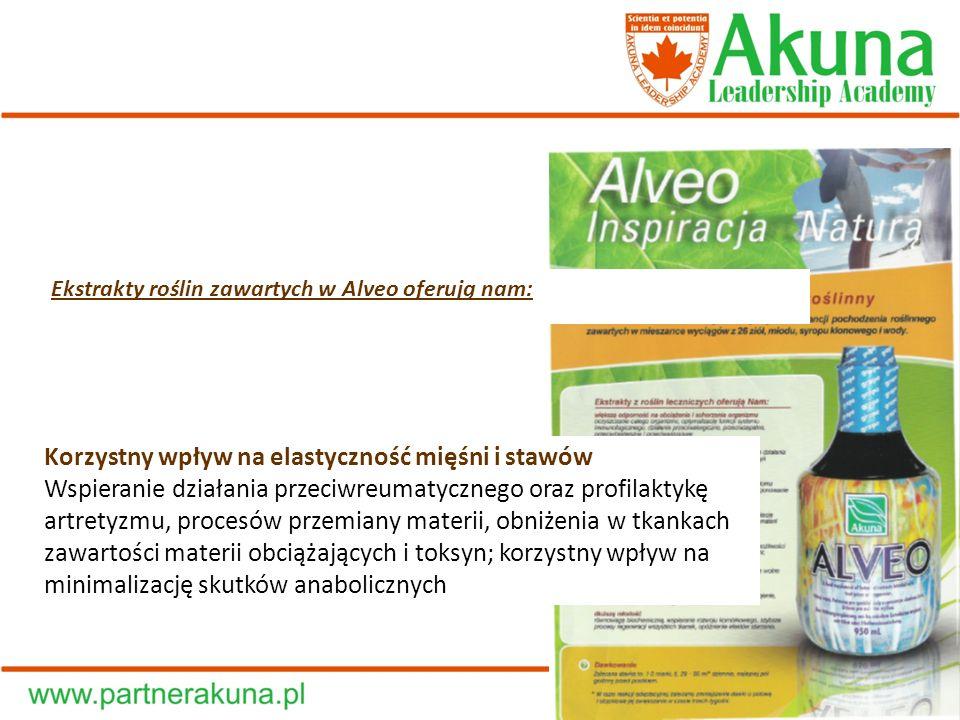 Ekstrakty roślin zawartych w Alveo oferują nam: Korzystny wpływ na elastyczność mięśni i stawów Wspieranie działania przeciwreumatycznego oraz profila