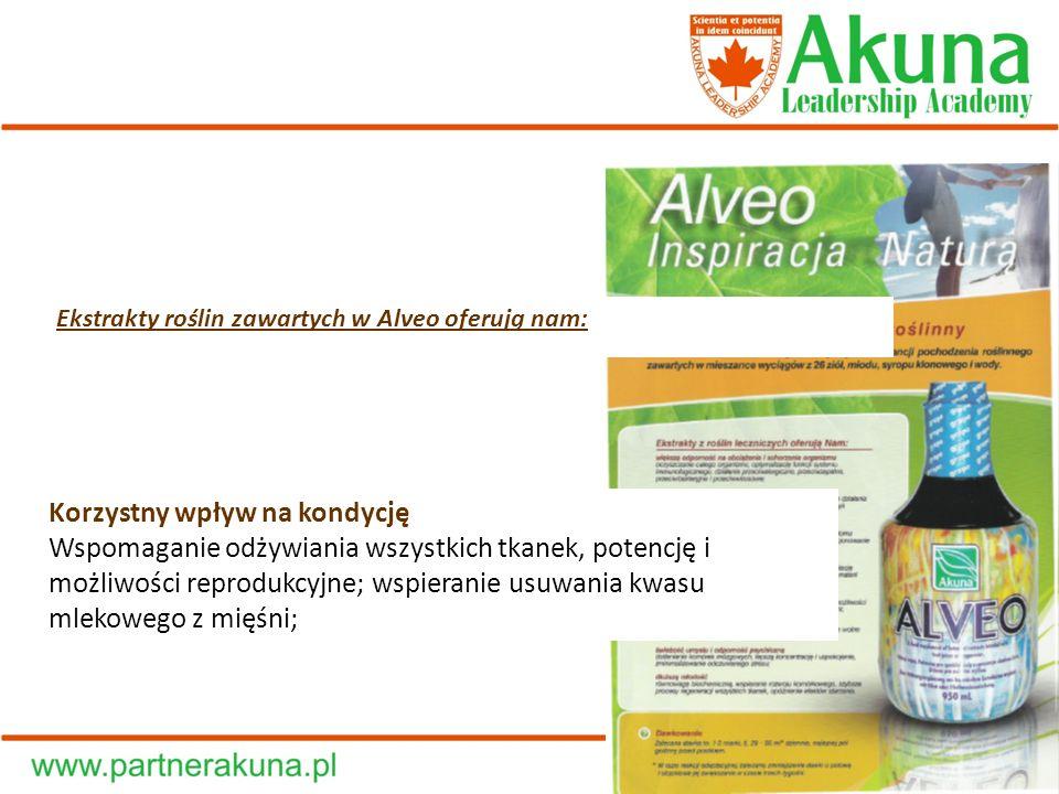 Ekstrakty roślin zawartych w Alveo oferują nam: Korzystny wpływ na kondycję Wspomaganie odżywiania wszystkich tkanek, potencję i możliwości reprodukcy